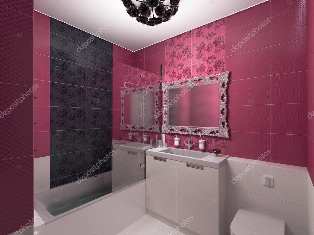 ilustración 3d de diseño de interiores, cuarto de baño rosa — foto