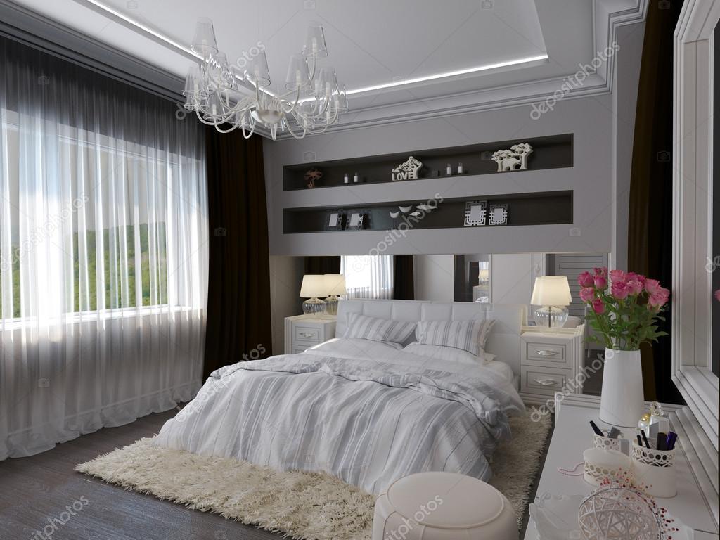 rendering 3D di un bianco camera da letto in stile classico — Foto ...