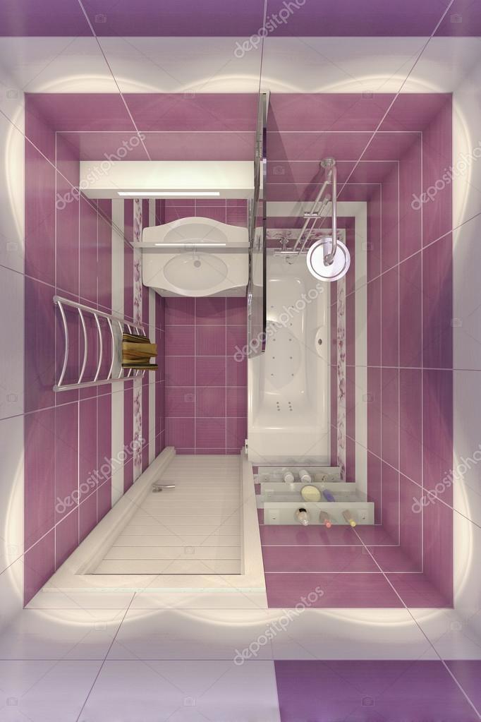 3D illustratie van ontwerp van een badkamer in violette kleur met ...