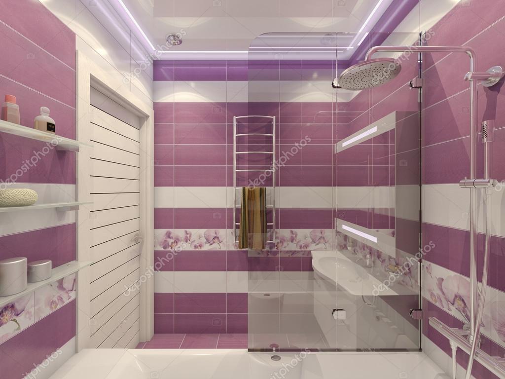 Illustrazione d di progettazione di un bagno in colore viola con