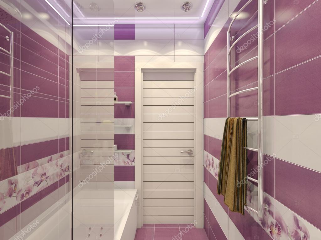 illustration 3d de conception d 39 une salle de bains en couleur violette avec orc photographie. Black Bedroom Furniture Sets. Home Design Ideas
