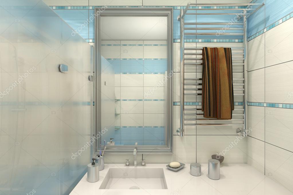 Illustrazione d di progettazione di un bagno di colore blu u foto