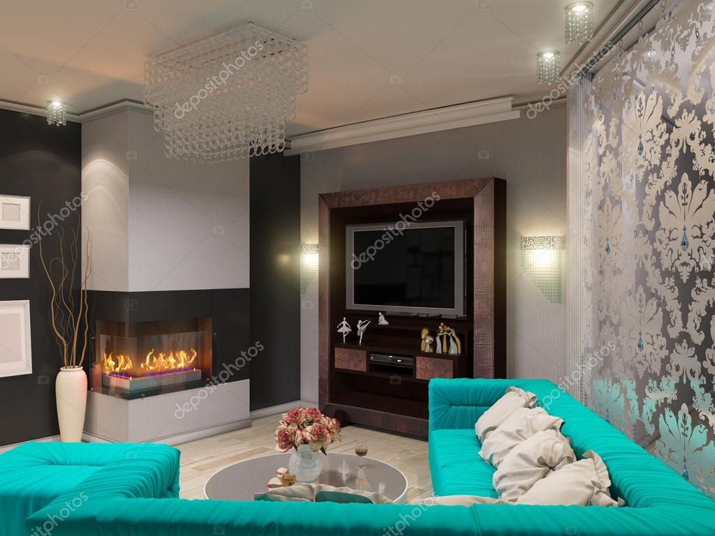 D illustratie van een salon in de stijl van een art deco hoekige