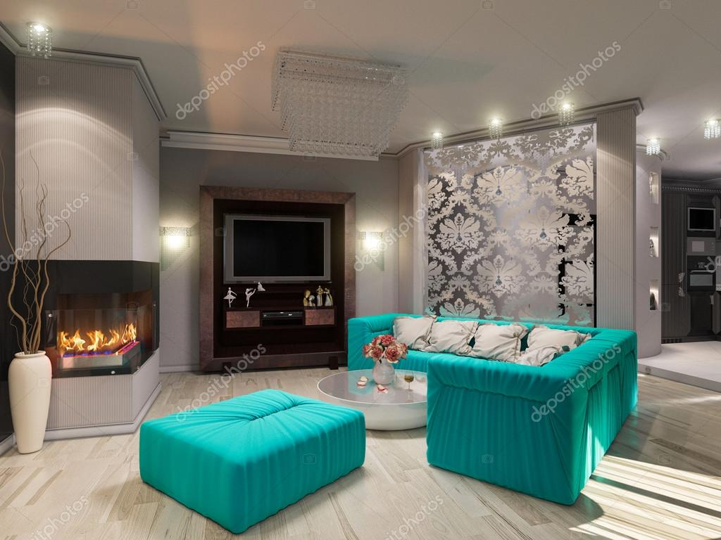 Illustrazione 3d di un salotto in stile di art deco foto for Immagini salotto