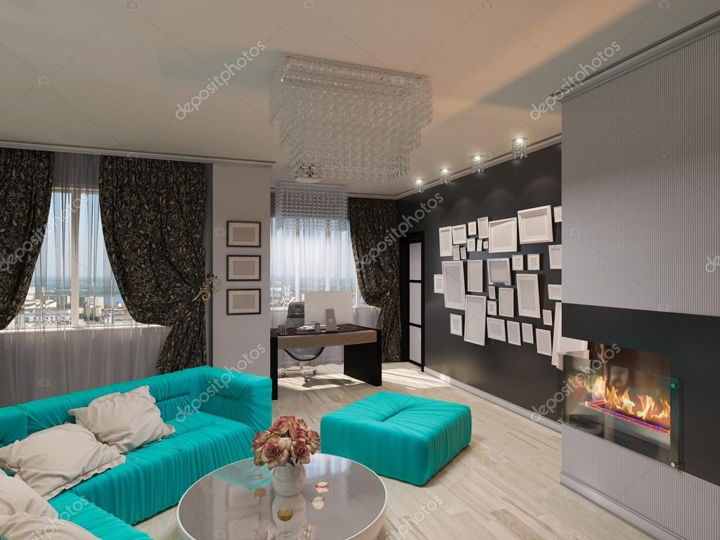 3D Abbildung des einen Salon im Art-Deco-Stil — Stockfoto ...
