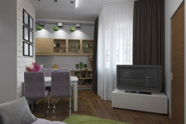 3D illustration of the one-room apartment