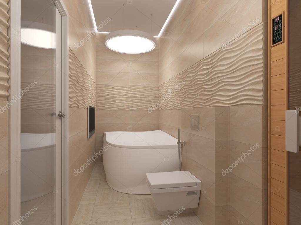 Fotos: baños beige   Ilustración 3D del cuarto de baño en ...