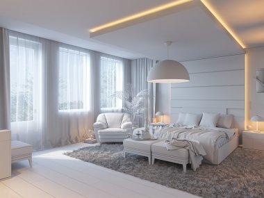 3d illustration of bedrooms in brown color