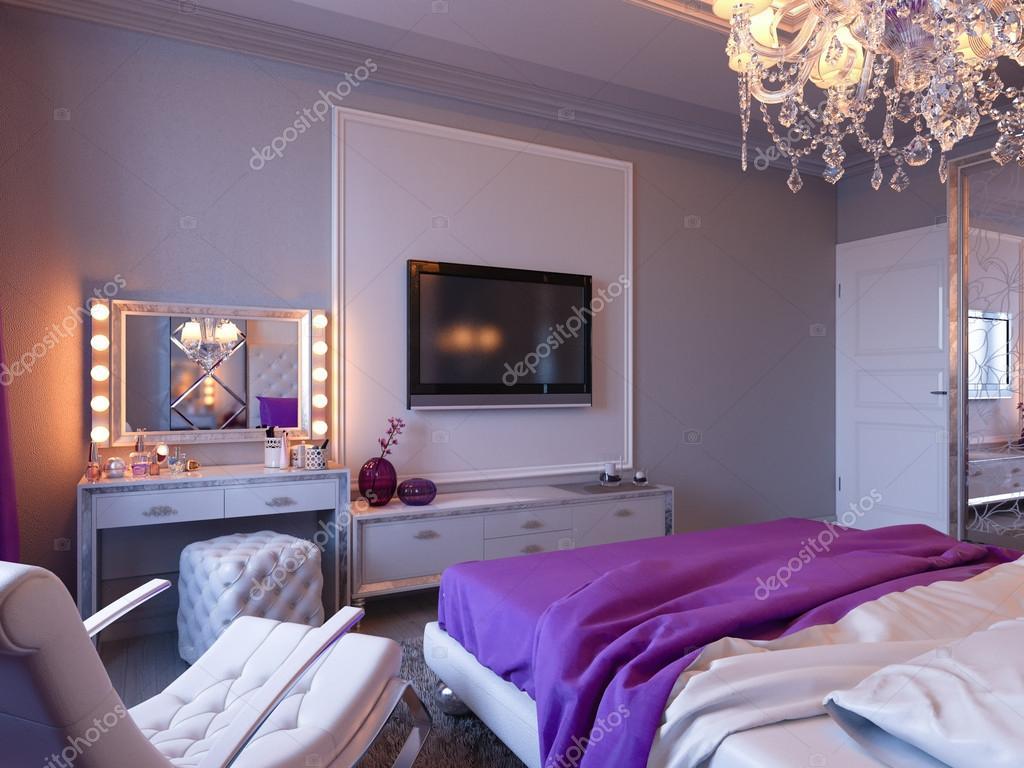 Camera Da Letto Rosa E Viola : Camera da letto di rendering 3d in toni di grigio e bianchi con