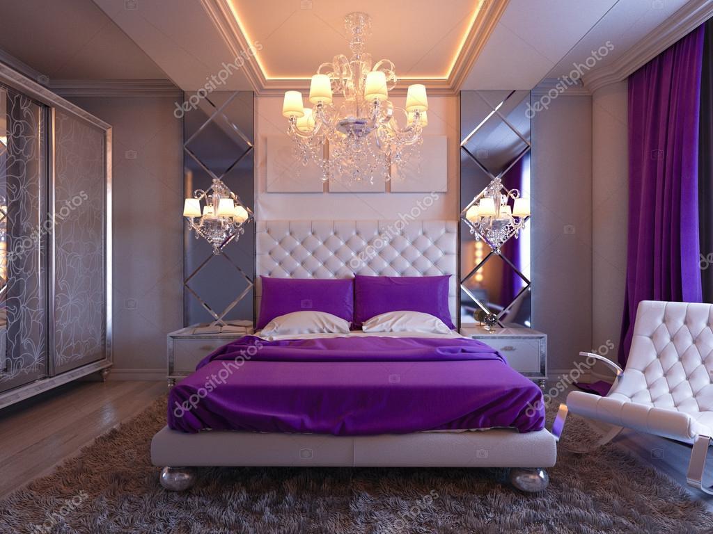 3d illustratie slaapkamer in grijze en witte tinten met paarse accenten en grote kast foto van richman21