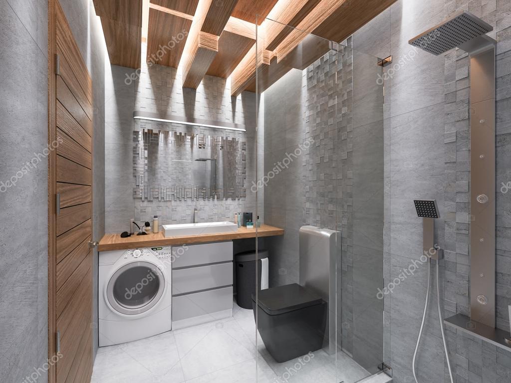 D visualisatie van een badkamer in een grijze steen en een