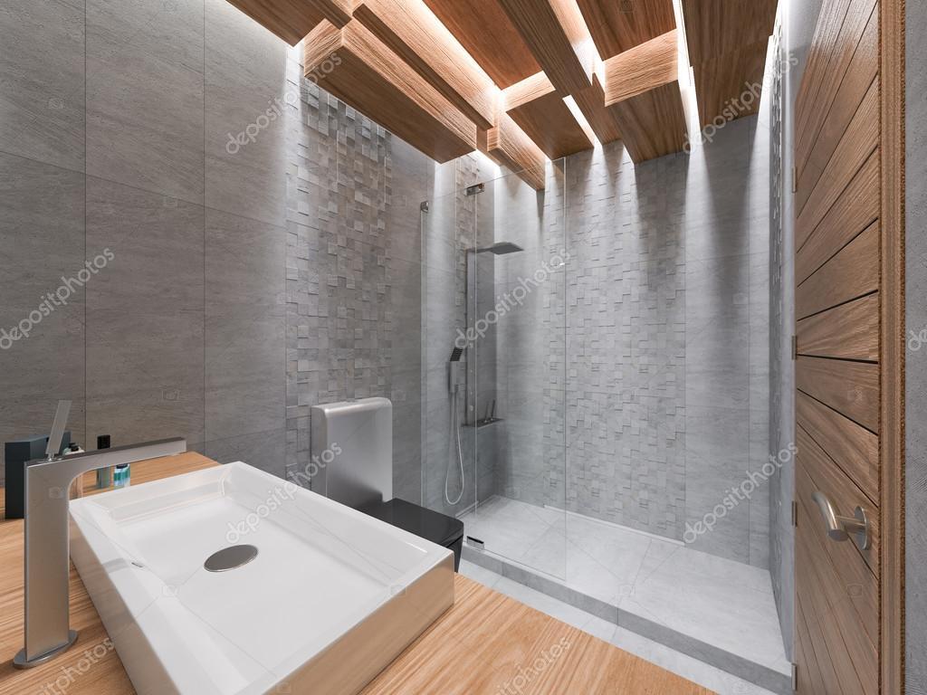 Bagno Legno E Mosaico : Visualizzazione d di un bagno in una pietra grigia e un mosaico