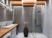 Fényképek 3D-s megjelenítés egy szürke kő, és egy mozaik fürdőszoba