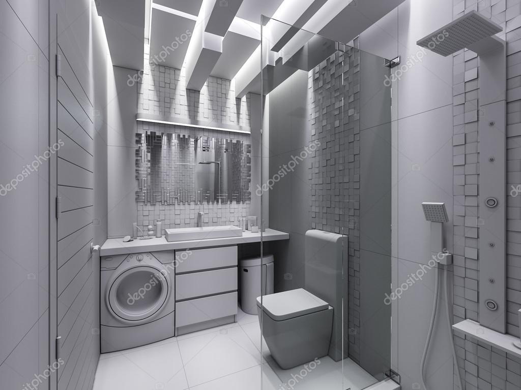 Visualisation 3D d\'une salle de bain dans une pierre grise ...