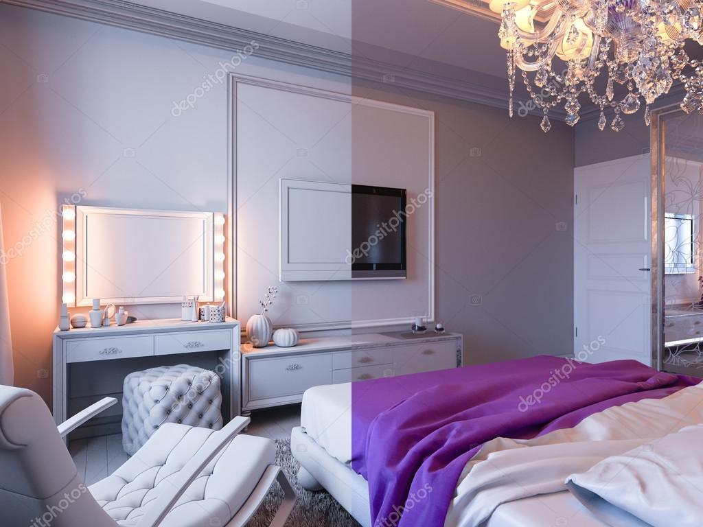 3d illustratie slaapkamer in grijze en witte tinten met paarse accenten foto van richman21