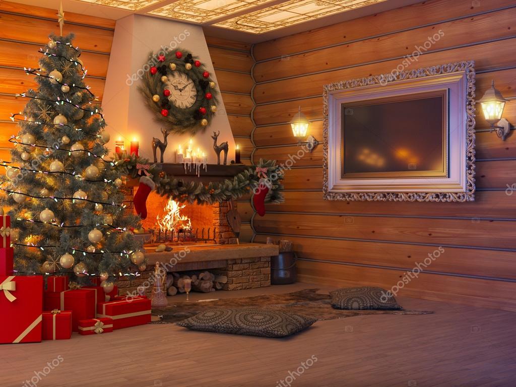 Int rieur de nouvel an illustration 3d avec arbre de no l cadeaux et chemin e dans la maison d - Cheminee interieur maison ...