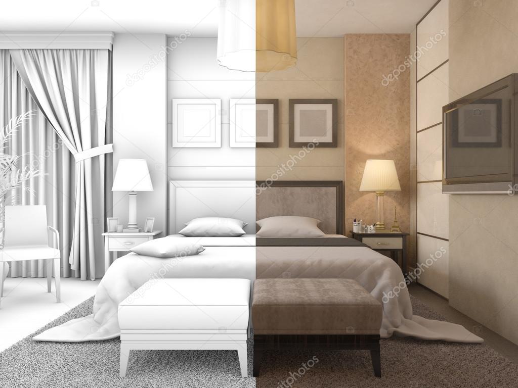 illustrazione 3D di progettazione di una camera da letto a colori e ...