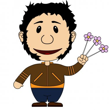 Illstration of the cheerful and smiling character with flowers
