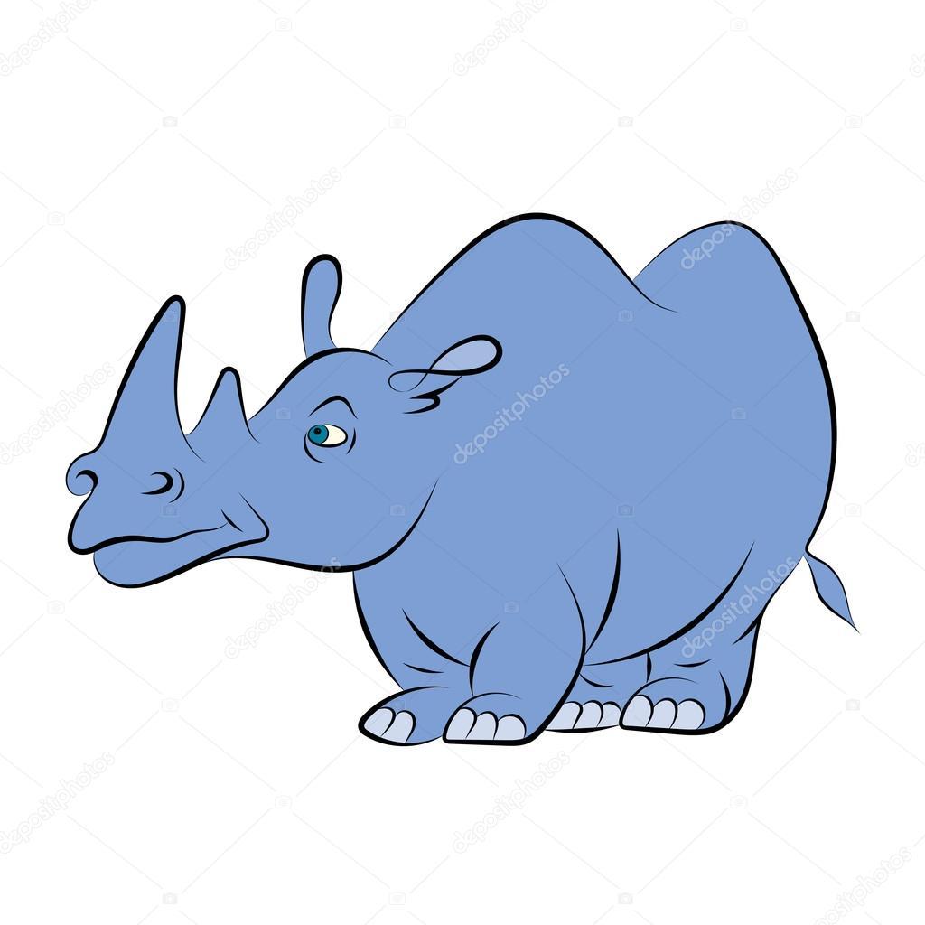 Illstration d\'un rhinocéros bleu joyeux pour le livre pour enfants ...