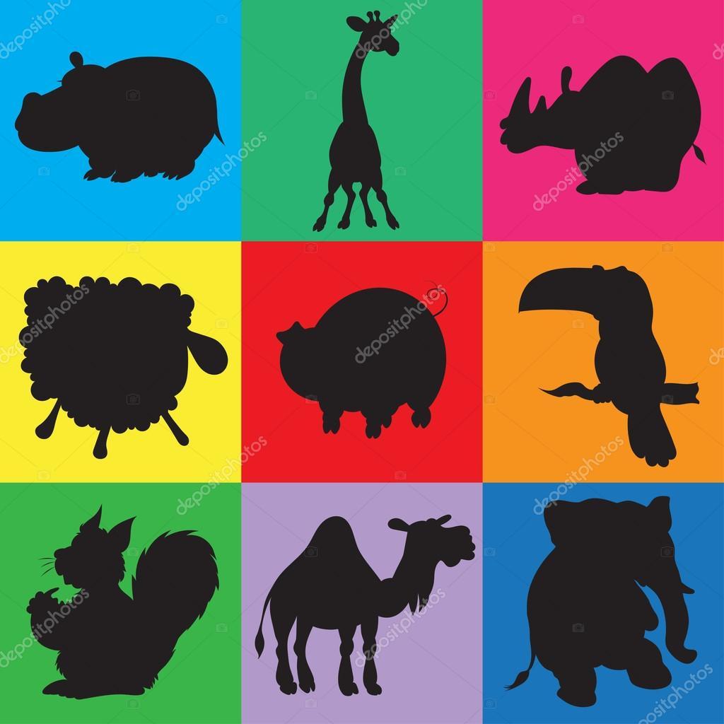 動物のシルエットをアニメーションのイラスト — ストックベクター