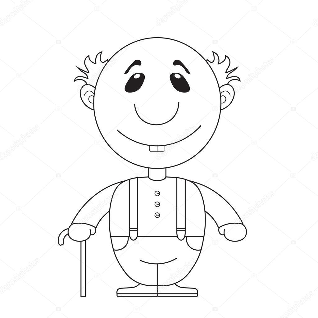 Animado Cara De Viejito Ilustración Del Abuelo Viejo Con