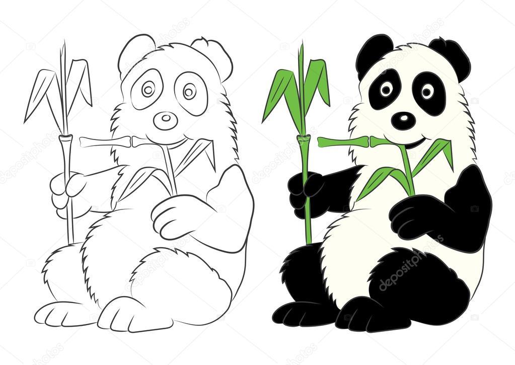 Ilustración de Panda con una rama de bambú. La imagen del libro del ...