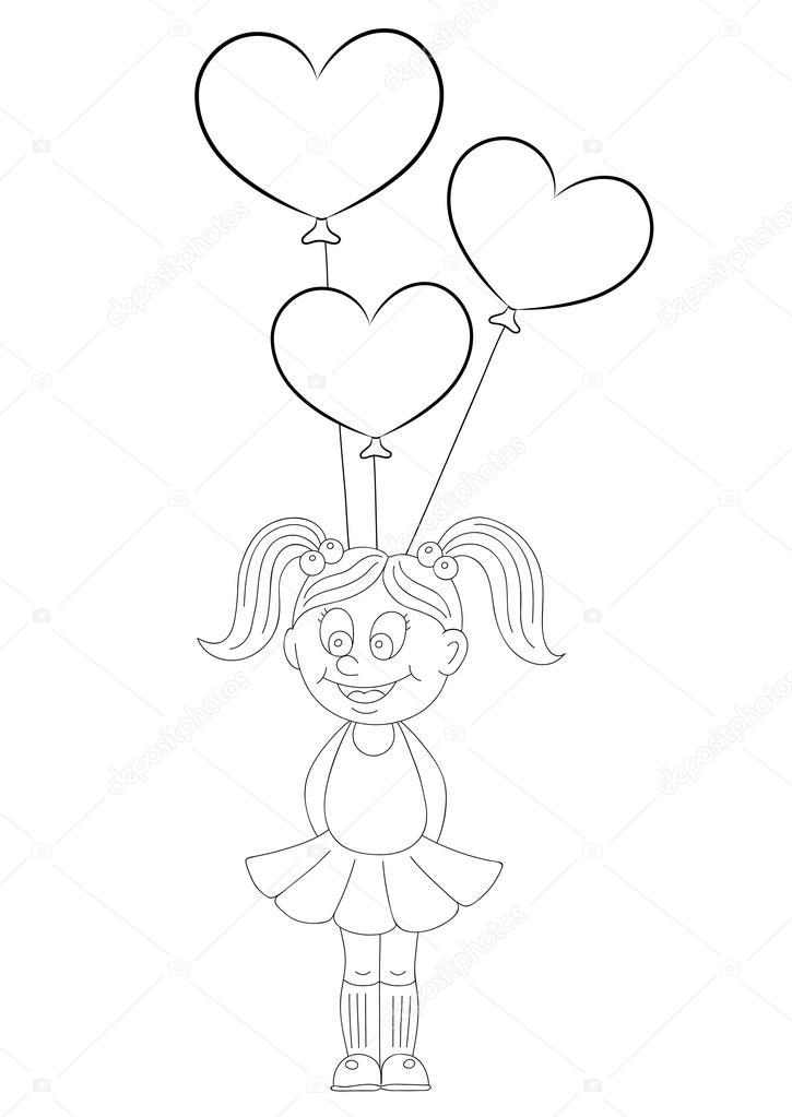 Globo en forma de corazon para colorear | Ilustración de una niña de ...