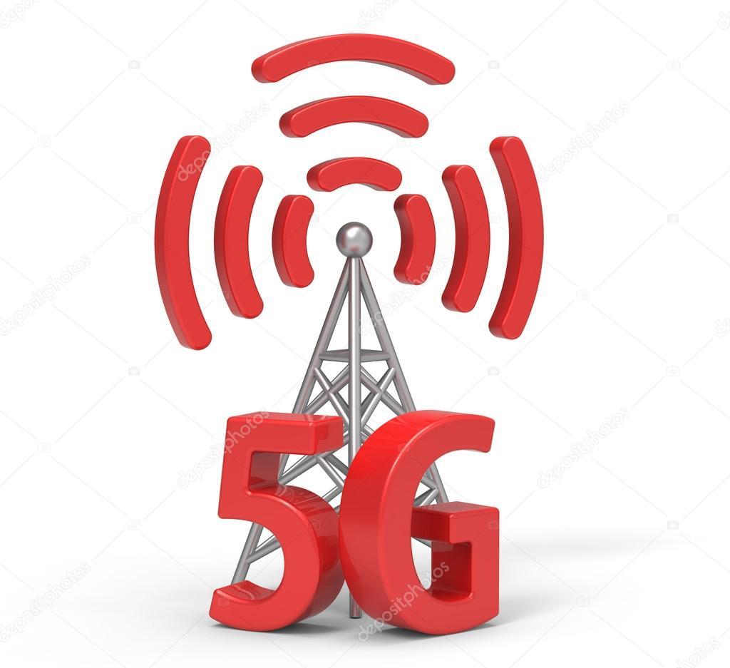 3D 5g mit Antenne, drahtlose Kommunikation-Technologie — Stockfoto ...