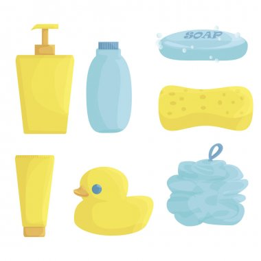 Bathroom items. means for washing: shower gel, shampoo, solid soap, facial foam, cream, washcloth and sponge. duck for the bathroom. vector flat. isolated. icon