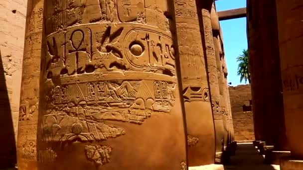 Various hieroglyphs, signs and symbols depicted on  the pillars inside Karnak Temple in Luxor, Egypt.