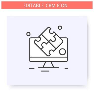 Collaborative CRM line icon. Editable illustration