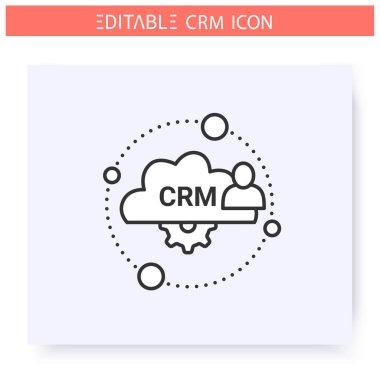 Cloud based CRM line icon. Editable illustration