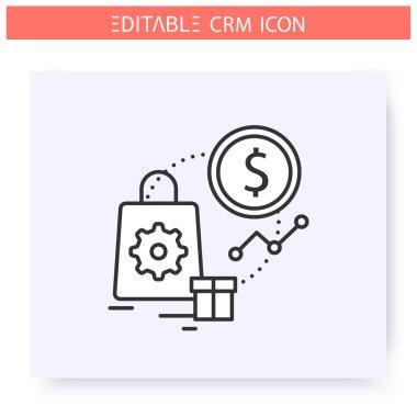 Sales automation line icon. Editable illustration