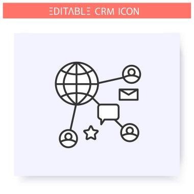 Social CRM line icon. Editable illustration