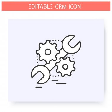 Service automation line icon.Editable illustration