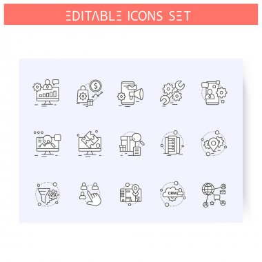 Types of CRM systems line icons set. Editable