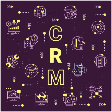 CRM system concept. Word, icons composition banner
