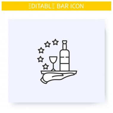 Bar service line icon. High quality, reputation, feedback. Restaurant, cafe or bar star rating. Cocktail party and drinking establishment concept. Isolated vector illustration. Editable stroke icon