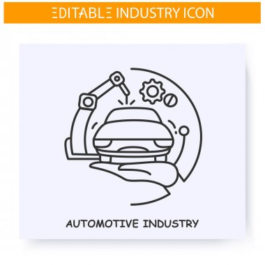 Automotive industry line icon.Mechanical engineering. Vehicle manufacturing. Production machinery technology. Contemporary production branches concept. Isolated vector illustration. Editable stroke icon