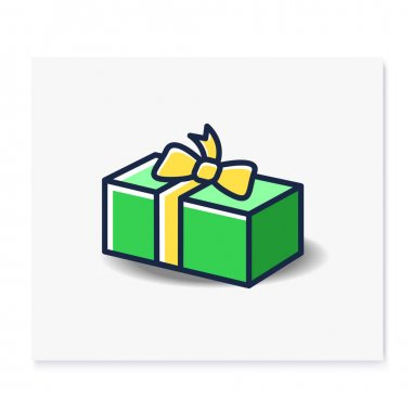Present color icon. Gift box with bow ribbon. Holiday congratulation, surprise concept. Holiday offer. Christmas, new year, birthday celebration symbol. Isolated vector illustration icon