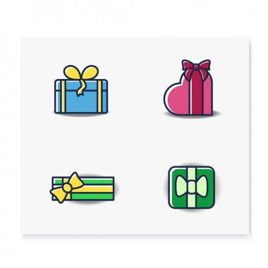 Presents color icons set. Different shapes gift boxes collection. Holiday congratulation, surprise concept. Christmas, new year, birthday celebration. Isolated vector illustrations icon