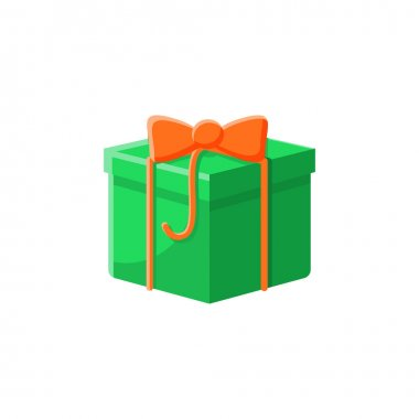 Present flat icon. Gift box with bow ribbon. Holiday congratulation, surprise concept. Holiday offer. Christmas, new year, birthday celebration symbol. Color vector illustration icon