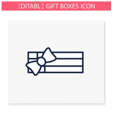Rectangle shape present line icon.Gift box with bow ribbon, top view.Holiday congratulation, surprise concept. Holiday offer.Christmas, new year, birthday.Isolated vector illustration.Editable stroke icon