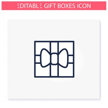 Present line icon. Gift box with bow ribbon, top view. Holiday congratulation, surprise concept. Holiday offer. Christmas, new year, birthday celebration. Isolated vector illustration.Editable stroke icon