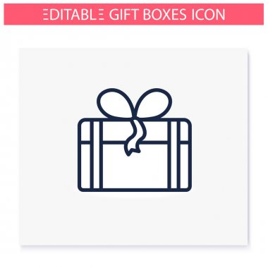 Present line icon. Gift box with bow ribbon. Holiday congratulation, surprise concept. Holiday offer. Christmas, new year, birthday celebration symbol. Isolated vector illustration. Editable stroke icon