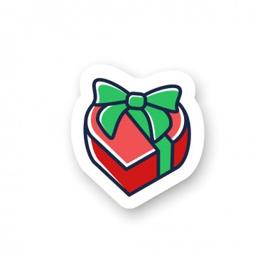 Heart shape present color sticker. Gift box with bow ribbon badge. Custom sticker. Holiday congratulation, surprise concept.Holiday offer. Christmas, valentine, birthday celebration. Vector emblem icon