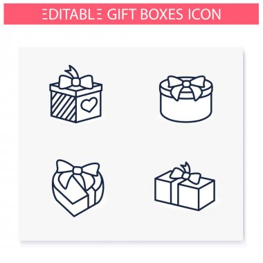 Presents line icons set. Different shapes gift boxes collection. Holiday congratulation, surprise concept. Christmas, new year, birthday celebration. Isolated vector illustrations. Editable stroke icon