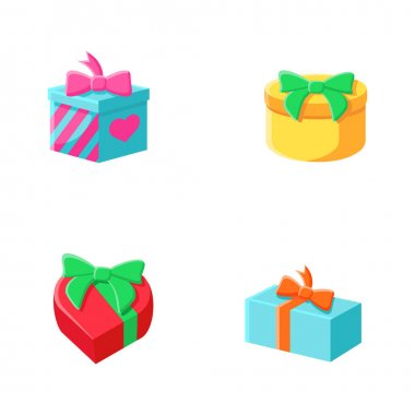 Presents flat icons set. Different shapes gift boxes collection. Holiday congratulation, surprise concept. Christmas, new year, birthday celebration. Color vector illustrations icon