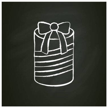 Round present chalk icon. Gift box with bow ribbon. Holiday congratulation, surprise concept. Holiday offer. Christmas, new year, birthday celebration. Isolated vector illustration on chalkboard icon