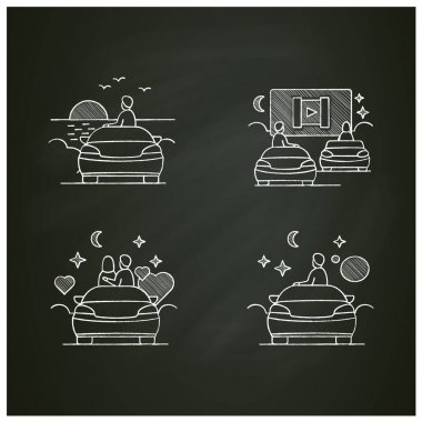 Getaway car chalk icons set. Relax and travel by automobile concept. Contains such icons as garage, church, garage, drive-in cinema. Isolated vector illustrations on chalkboard icon